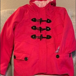 Hooded | Pink Toggle Front Pea Coat